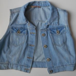 Distressed Cropped Jean Vest Chambray Denim